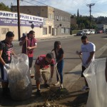October 18, 2014 youth pick up trash at clean up